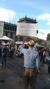 Manifestante guatemalteco en la Plaza de la Constitución. OI